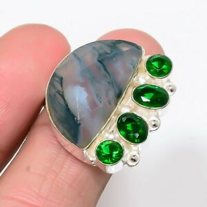 Indian Moss Agate, Emerald Quartz 925 Sterling Silver Jewelry Ring s.8 T8672