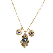 Lux Accessories Burnish Gold Boho Evil Eye Hamsa Protect Inspirational Necklace