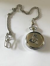 A1 Horse Head Made of English Pewter on a Silver Pocket Watch Quartz fob