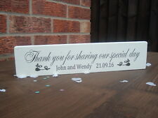 Wedding Thank you for sharing day free standing sign shabby vintage chic plaque