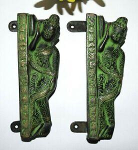 Buddha Door Handle Pair Brass Pulls Hand Craved Laying Meditating Gautama EK327