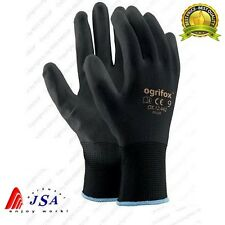 24 PAIRS OF BLACK NYLON PU GRIP Safety Work Gloves Gardening Mechanic