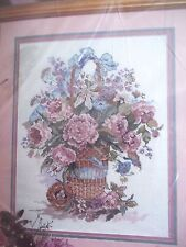 PINK BLUE chrysanthemum FLORAL BASKET rose picture or WALL ART CROSS STITCH KIT