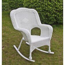 International Caravan Resin Wicker Camel Back Rocking Chairs (Set of Two), White