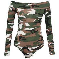 New Womens Ladies Off Shoulder Long Sleeve Printed Army Tartan Tooth BodySuit