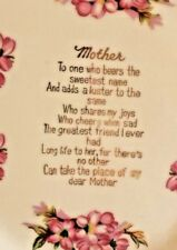 Mother's Keepsake Plate White Pink and Gold Reticulated Rim