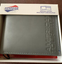 American Tourister Grey Credit Card Billfold Wallet RFID Protection Leather New