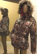 RealTree Womens Camo Bubble Jacket Hoodie 2 XL Fur Pink Mossy Oak Ladies Coat