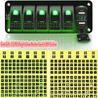 6 Gang Car Boat Marine Rocker Switch Panel USB Green LED Circuit Breaker Voltage