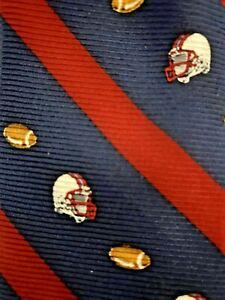 Brooks Brothers Youth Boys Silk Designer Necktie Blue Red Stripe Football Sport