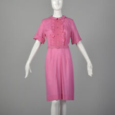 L 1960s Dress Pink Smock Front Ruffle Collared Belted Lightweight Summer 60s VTG