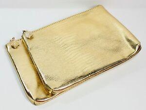 """2pc Lancôme Makeup Companion Pouch Bag Shiny Gold 7.25"""" x 5"""" Faux Croc Leather"""