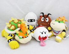 Super Mario Bros Koopa Jr Goomba Blooper Boo Ghost Stuffed Plush Doll Set of 5