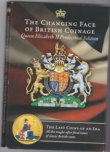 THE CHANGING FACES OF ELIZABETH II PLATED PRE DECIMAL COLLECTION IN A CARD PACK