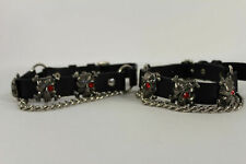 Biker Men Western Bling Boots Silver Chains Leather Straps Metal Skeleton Pirate