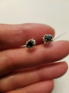 0.85 CT DIFFUSION GENUINE SAPPHIRE &DIAMOND 10KT SOLID YELLOW GOLD EARRINGS STUD