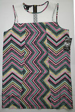 NWT Wrangler Rock 47 Chiffon Crochet Top MultI Color Print Mini Dress Large NEW