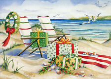 Beach Chairs, Wreath, Presents - Box of 18 Warm Weather Christmas Cards