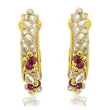 Real Rice Pearl & Red Garnet Gold Plated Hoop Earrings SE25