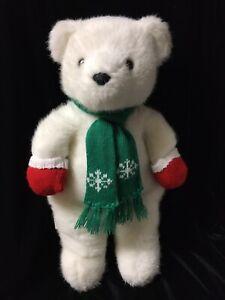 Vintage Hallmark Christmas White Teddy Bear Stuffed Plush Scarf Red Mittens CP