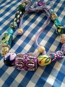 Wooden, Glass, Ceramic & Polymer Mixed Bead Necklace Summer Colours Chunky
