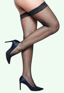 plus size FISHNET lace THIGH HIGH HOLD UPS stay-up stockings 24 26 28 30 32 34