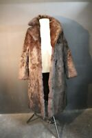 Genuine Vintage Woman Brown Rabbit Fur Long Fur Coat Sz L