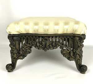 Ornate Cast Iron Upholstered Footstool Gold Beige Heavy Victorian Parlor Cottage