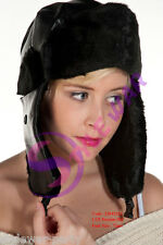 New Unisex Women's Men Leather Style Russian Hat Winter Leather Russian Hats