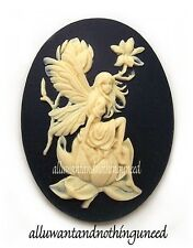 2 IVORY color 3/D FAIRY and MAGNOLIA on BLACK 40mm x 30mm Costume Jewelry CAMEOS