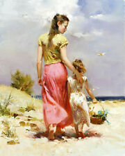 Oil painting nice young mother with daughter little girl in landscape on canvas