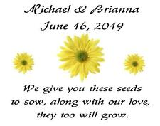 Wedding Favor Seed Packets Personalized Yellow Daisy  Custom Favors Set of 100