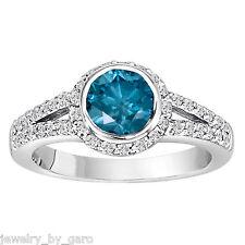 1.44 CARAT ENHANCED BLUE DIAMOND ENGAGEMENT RING 14K WHITE GOLD LOW BEZEL SET