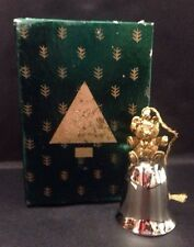 """WALLACE SILVERSMITHS 1994 PEWTER BELL ORNAMENT EP BRASS BEAR 3"""" BOXED"""