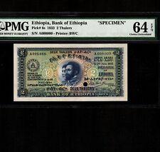 Ethiopia 2 Thalers 1933 P-6s * PMG Unc 64 EPQ * Specimen *