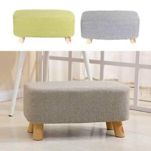 Linen Fabric Footstool Foot Rest Stool Pouffe Ottoman Seat Living Room Furniture