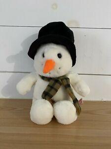 "Russ Snowflake Snowman with Hat & Neck Scarf 15"" Plush Stuffed Animal"