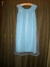 A+ VTG Movie Star blue nylon tricot baby doll short nightgown smock lace S 212