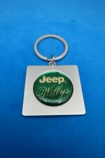 WILLYS WILLY'S JEEP SQUARE KEYRING SATIN NICKEL KEY RING CHAIN #275