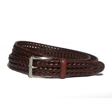 "FOSSIL Men Brown Leather Belt Size 44 Braided 27mm Wide 51"" overall long"