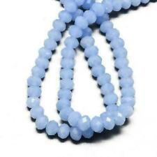95 Pale Blue Czech Crystal Opaque Glass 4 X 6mm Faceted Rondelle Beads HA20045