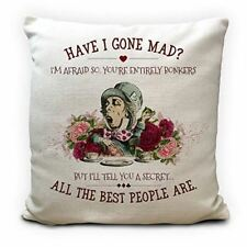 """Alice in Wonderland Mad Hatter Cushion Cover, Mad Bonkers Gone Mad, Floral 16"""""""
