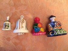 A Lot of 4 Decorative Porcelain & Pottery Bells from Usa, Russia and Mexico