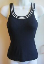 LAURIE B ANTHROPOLOGIE Sleeveless Sweater Shell Tank Navy Blue Misses Size M EUC