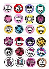 24 Edible Cake toppers decorations logotipos de Monster High ND3