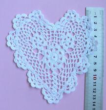 CROCHET HEART  DOILIES - Cotton WHITE -  13cm across x 14.5cm long EACH