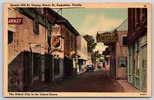 Quaint Old Saint George Street in St. Augustine, Florida Linen Postcard Unused
