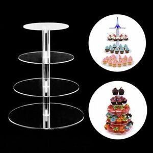 3/4/5 Tier Acrylic Wedding Cake Stand Crystal Cupcake Display Shelf Holder Plate