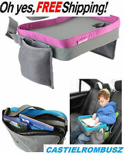 Kids Travel Play Tray Buggy Pushchair Easy Clean Car Table bag zip pocket pink