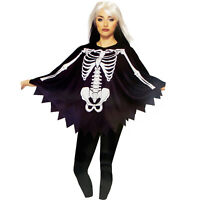 Adult Women's Skeleton Day Of The Dead Dia De Muertos Costume Poncho Black Cape